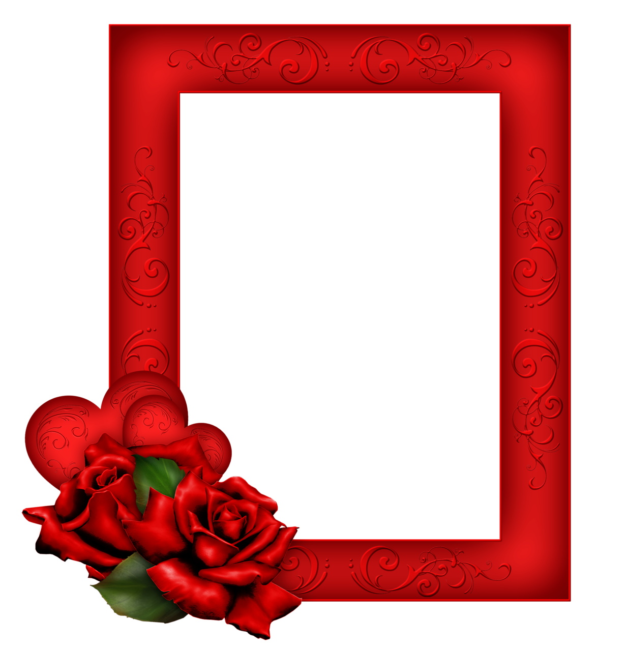 Beautiful transparent with roses. Red frame png