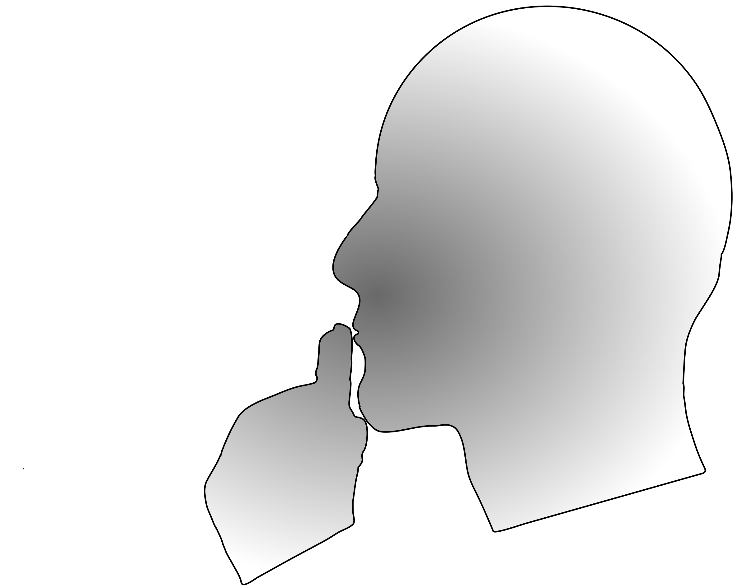 Deep thinking or reflecting. Thoughts clipart reflection