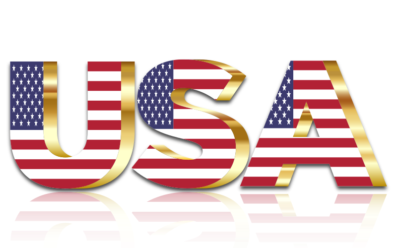 Usa flag typography gold. United states clipart background