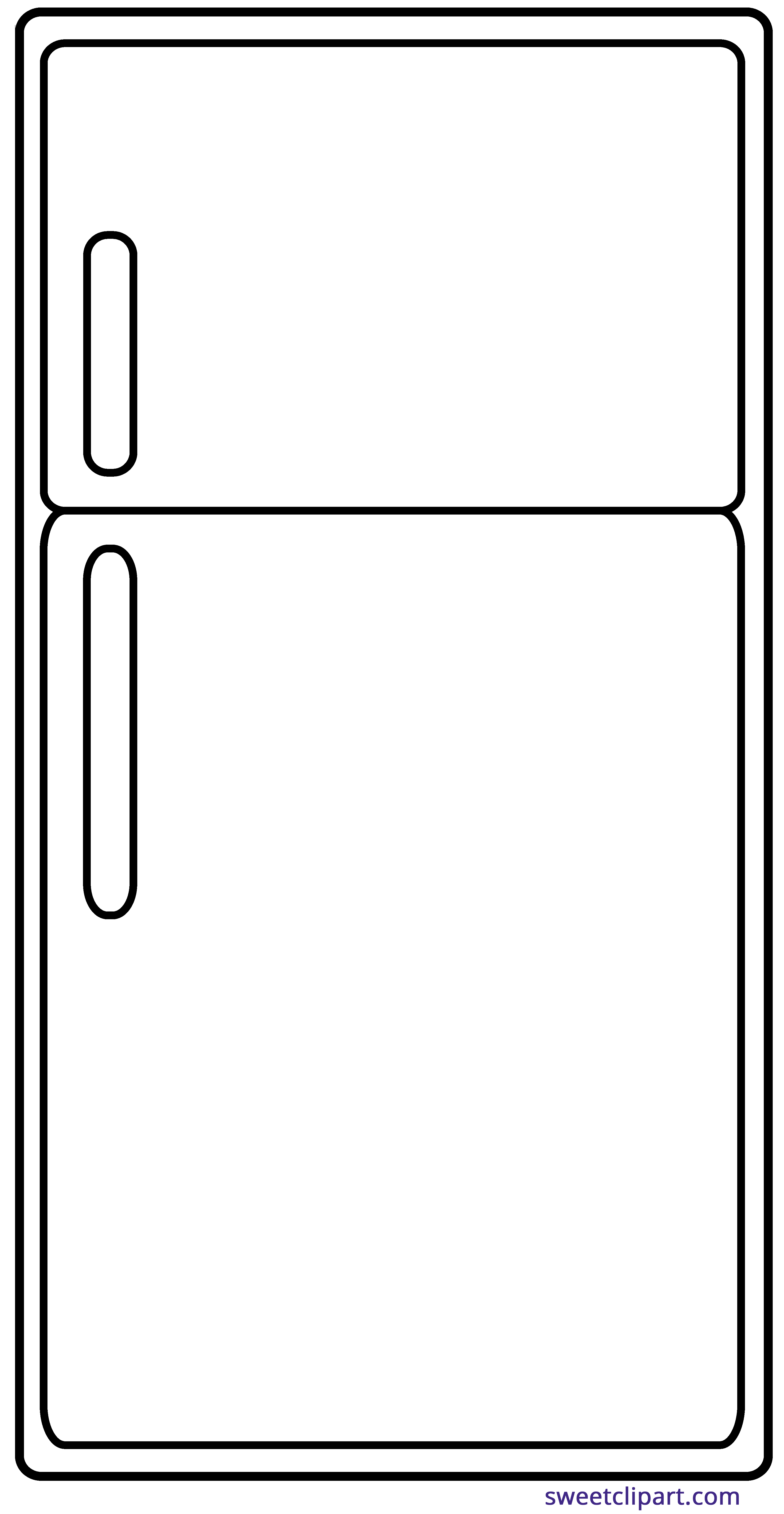 Refrigerator clipart. Outline sweet clip art
