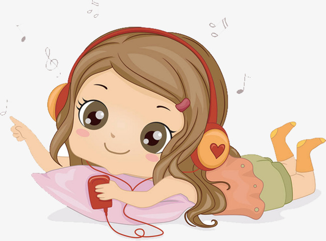 Cartoon illustration listening to. Relaxing clipart