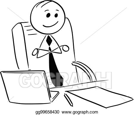 Vector happy satisfied businessman. Relaxing clipart contentment