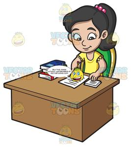 Study clipart book report. A girl writing