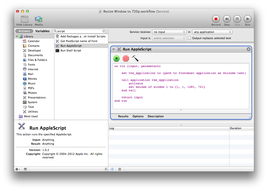 Using automator and applescript. Resize png windows
