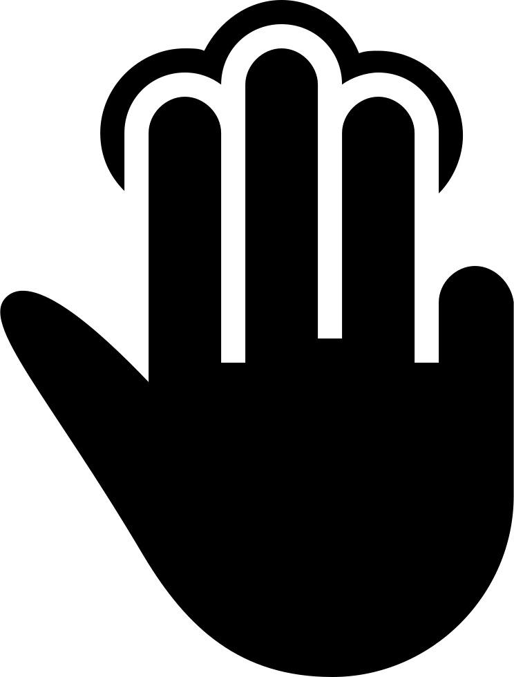 Three fingers tap black. Respect clipart gesture