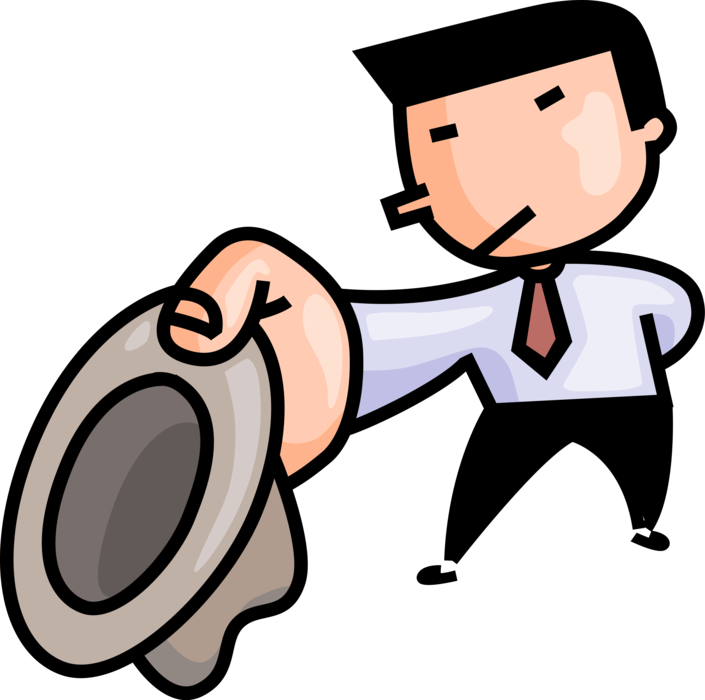 Respect clipart gesture. Executive tips hat in