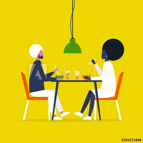 Young interracial eating ramen. Restaurants clipart couple dining