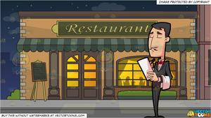 A Fine Dining Waiter Taking Orders and Outside A Fancy Restaurant Background