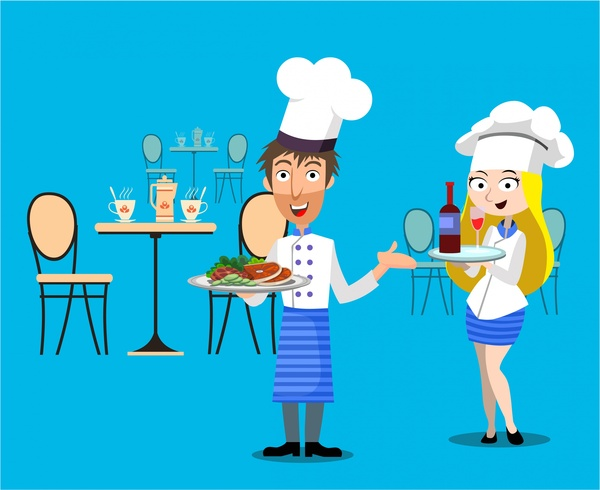 Restaurant concept design with. Waitress clipart waiter chinese