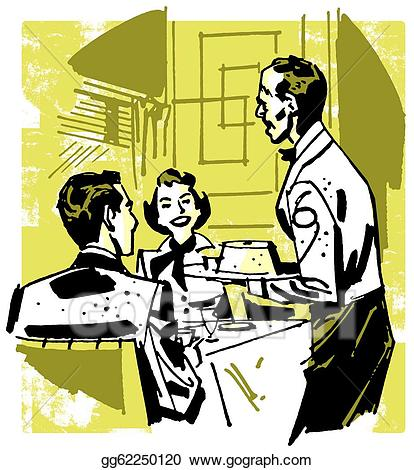 Clipart - A vintage illustration of a couple dining at a ...
