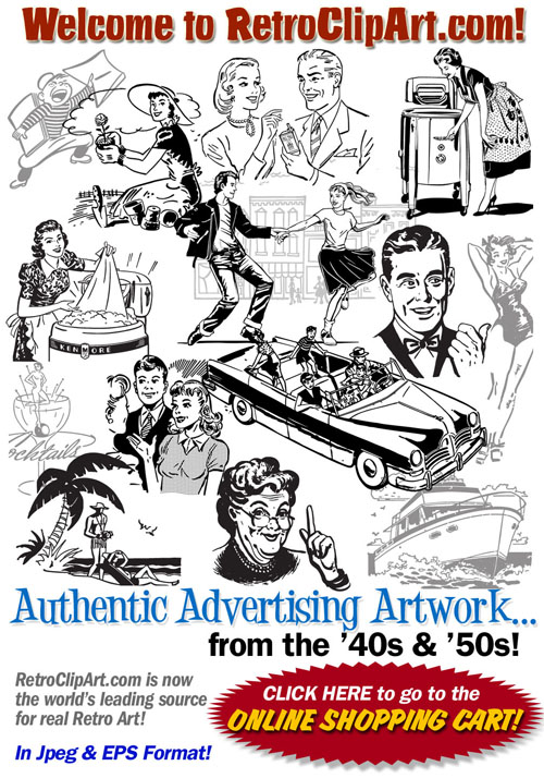 Retro clipart. Clip art authentic advertising