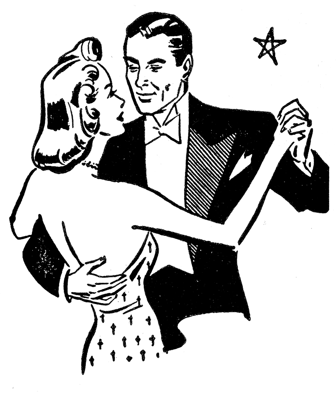 Retro clip art couples. Anniversary clipart black and white