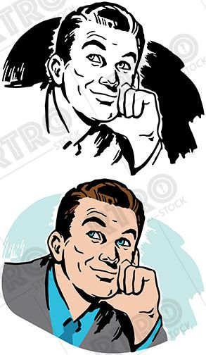 An attractive man in. Retro clipart business