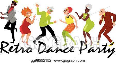 Vector stock party illustration. Retro clipart dance