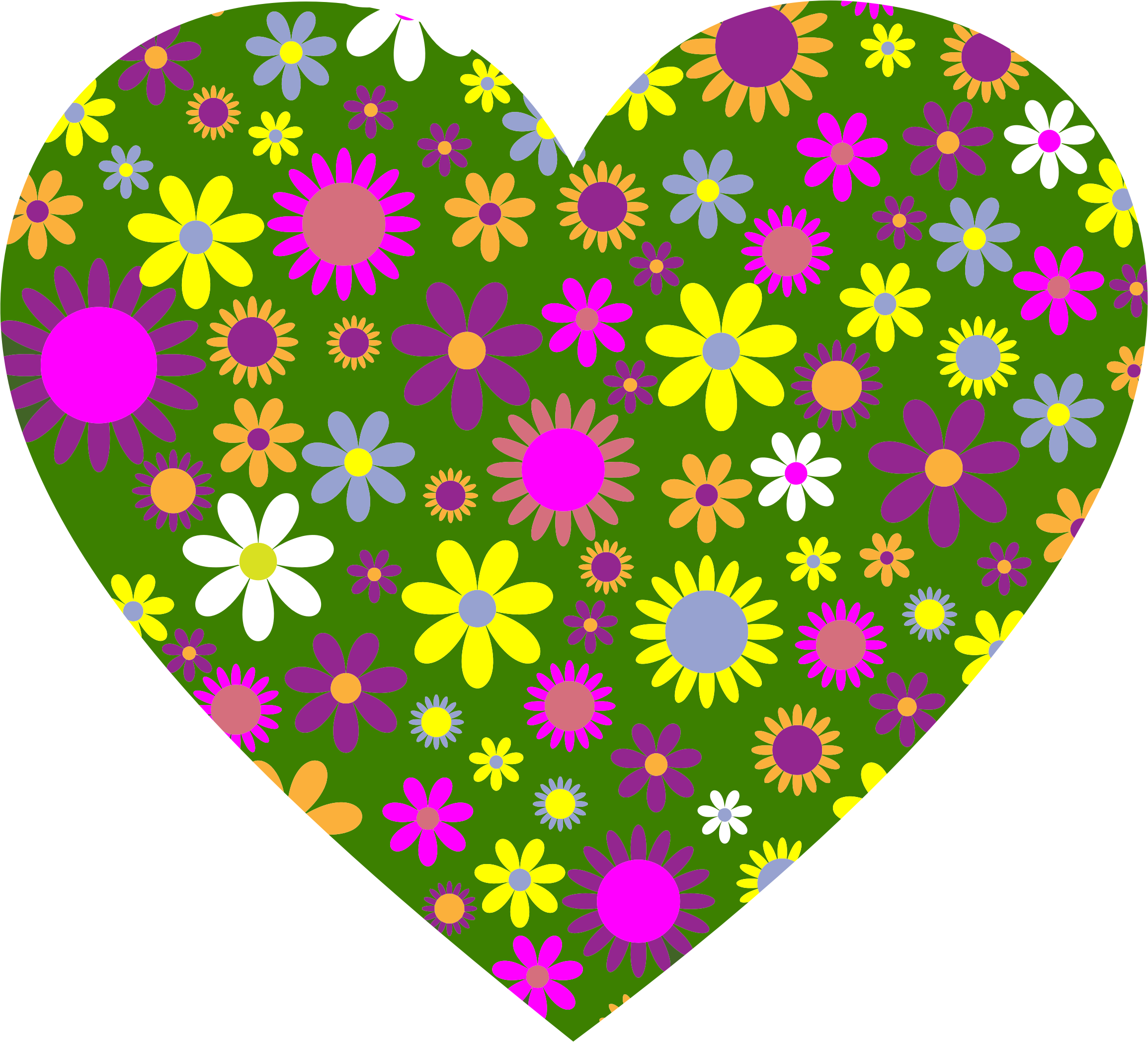 Retro clipart heart. Floral big image png