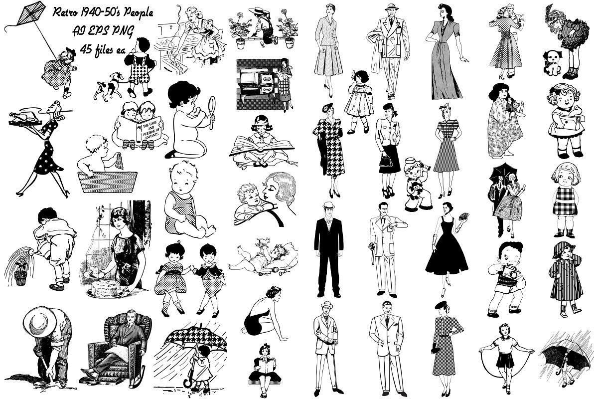Retro clipart mid century. Download for free png