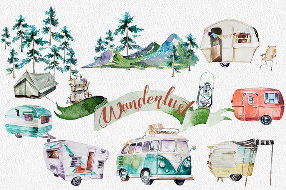 Retro clipart mountain. Watercolor wanderlust set vehicles