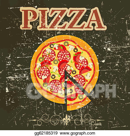 Retro clipart pizza. Vector stock menu template