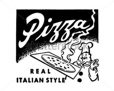 Retro clipart pizza. Ad art banner stock