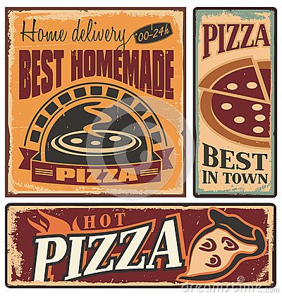 Metal signs set for. Retro clipart pizza