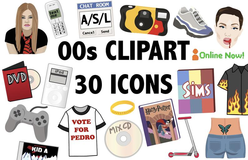 Retro clipart printable.  s icons party
