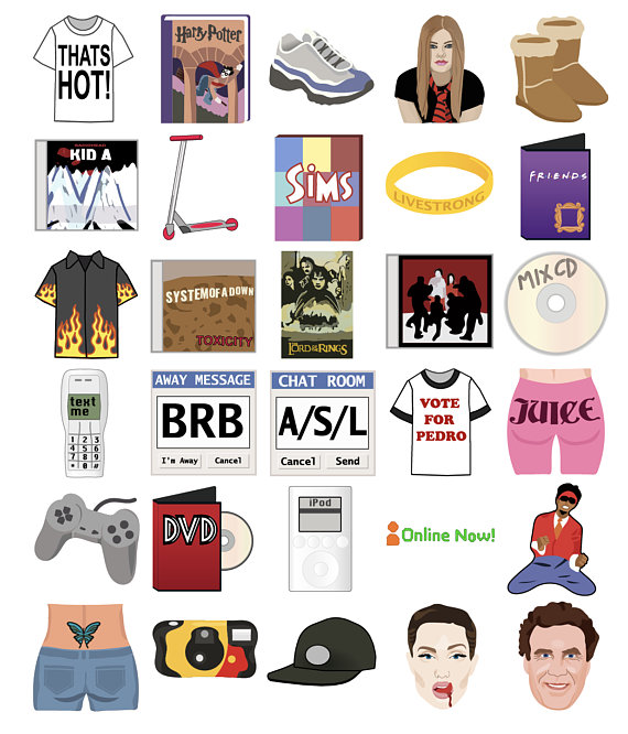 s icons party. Retro clipart printable