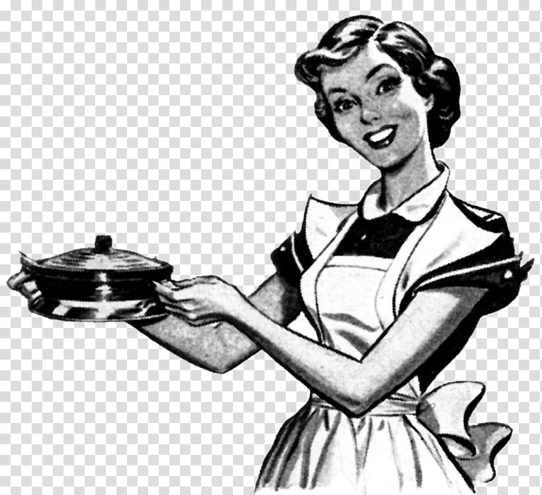 Cooking chef towel woman. Retro clipart retro style