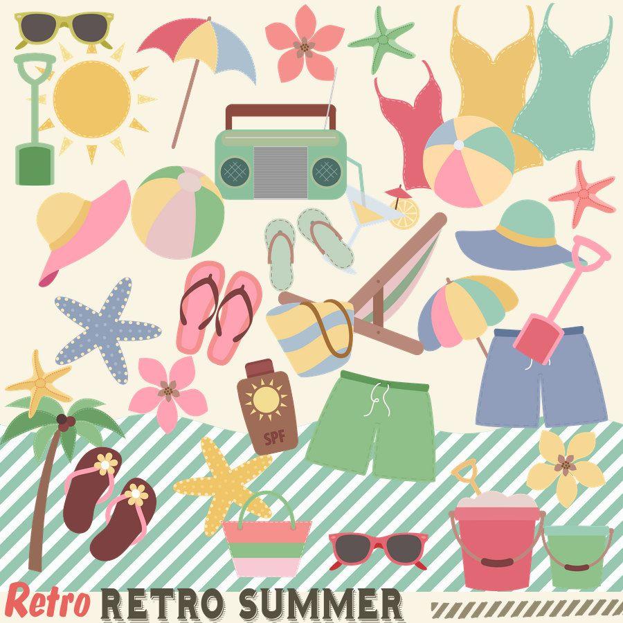 Retro clipart summer. S beach clip art