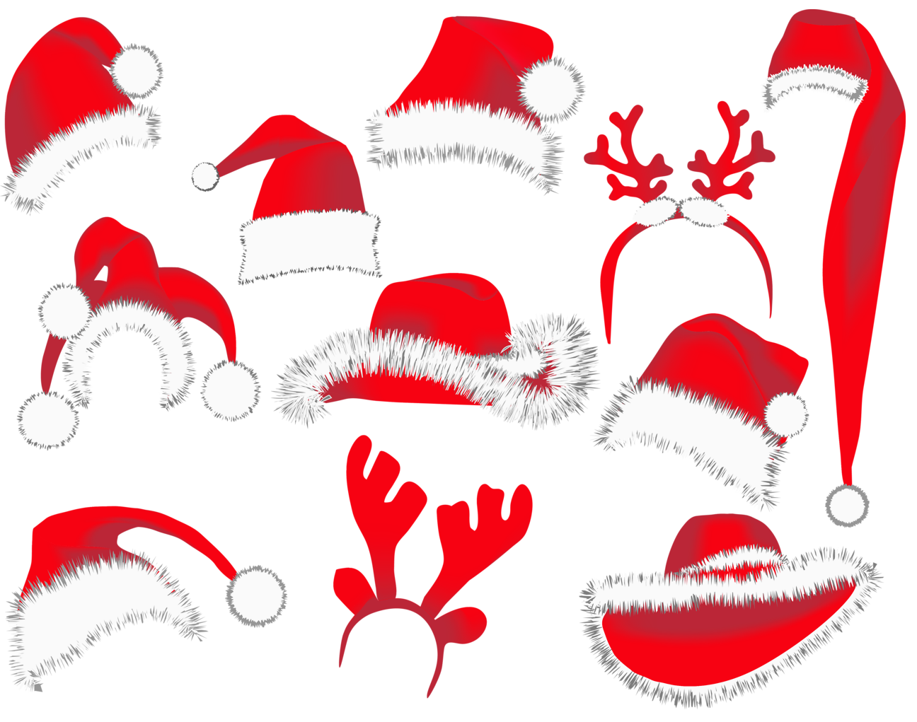 Christmas hats png picture. Retro clipart winter