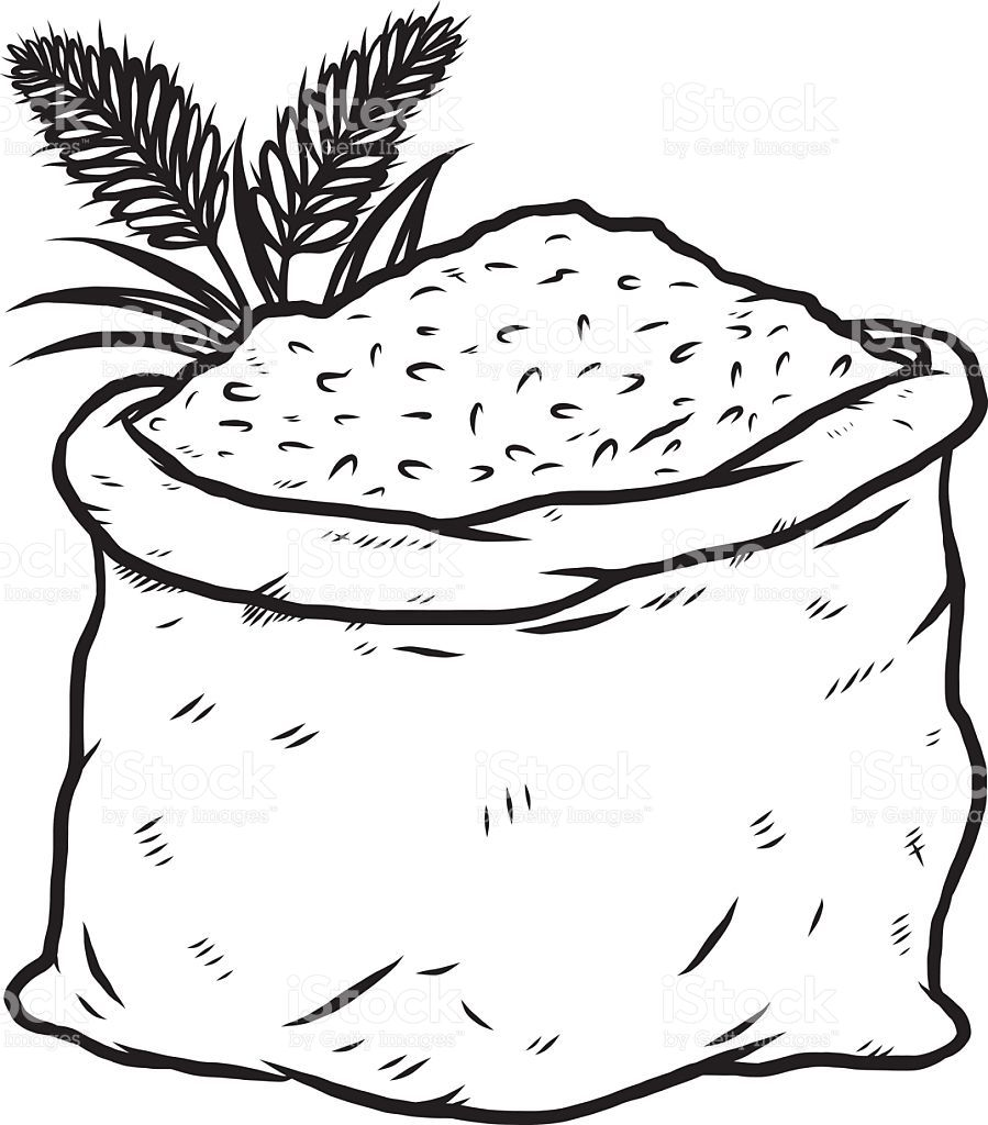 Black and white food. Rice clipart