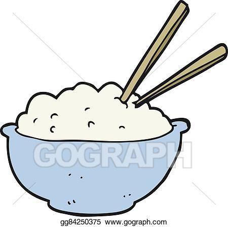 Rice clipart. Vector stock cartoon bowl