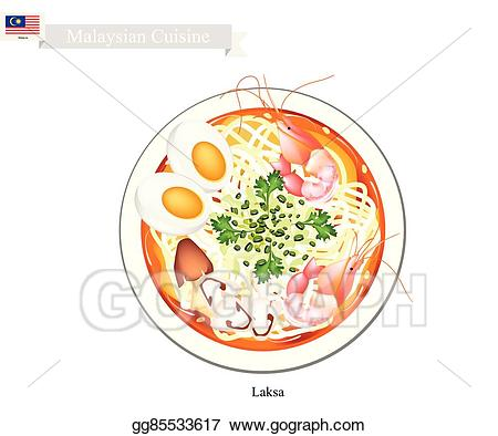 Vector illustration laksa or. Rice clipart mee