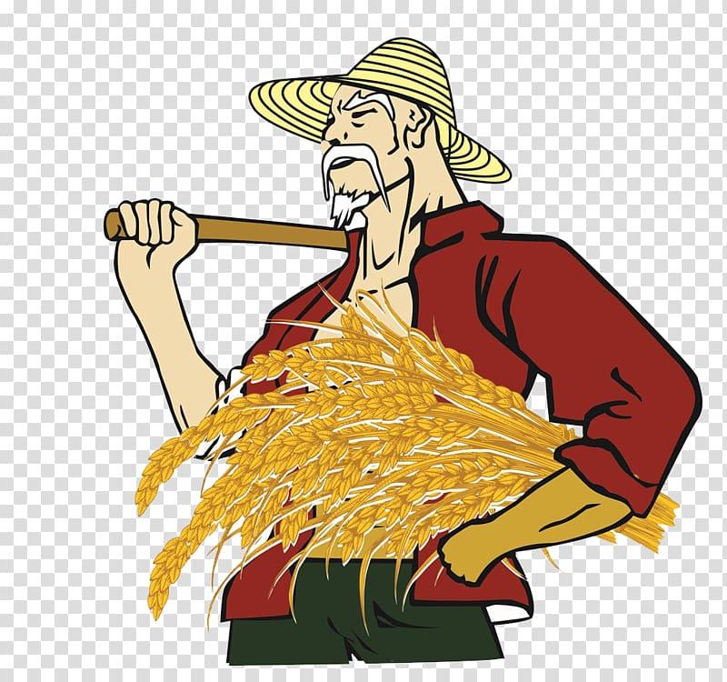 Farmer for the elderly. Rice clipart rice harvest