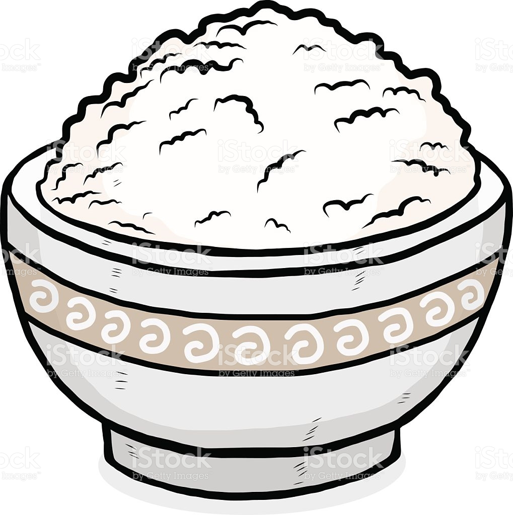 Bowl of drawing at. Rice clipart sketch
