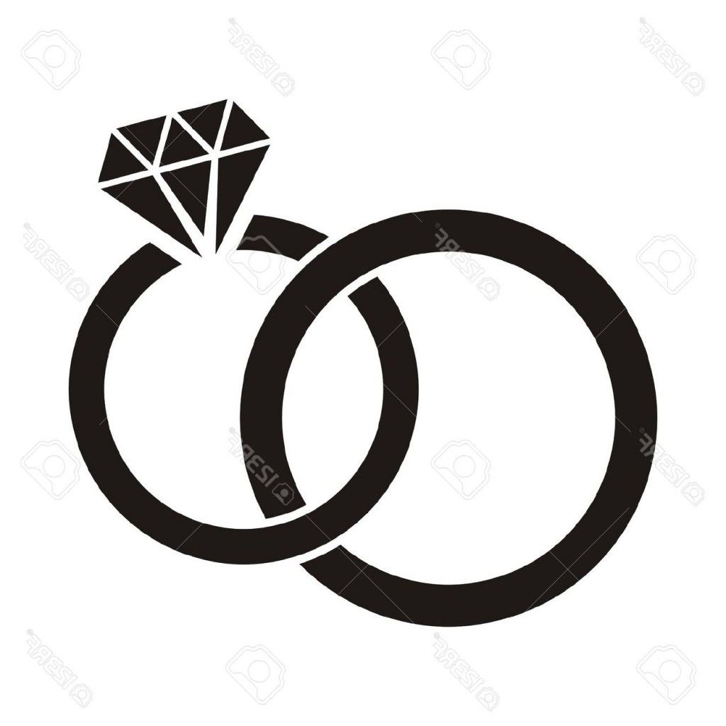 Diamond black and white. Ring clipart