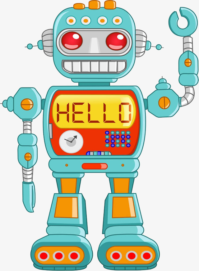 Robot clipart. Greeting cartoon characters say