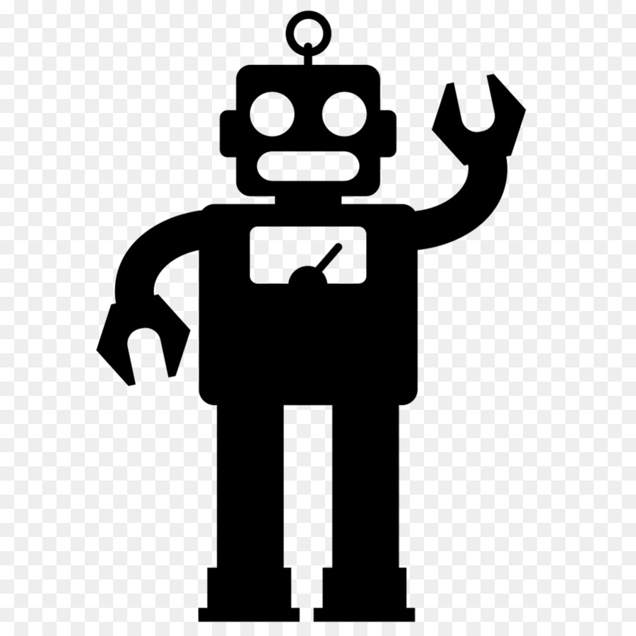 Robot clipart silhouette. White background line
