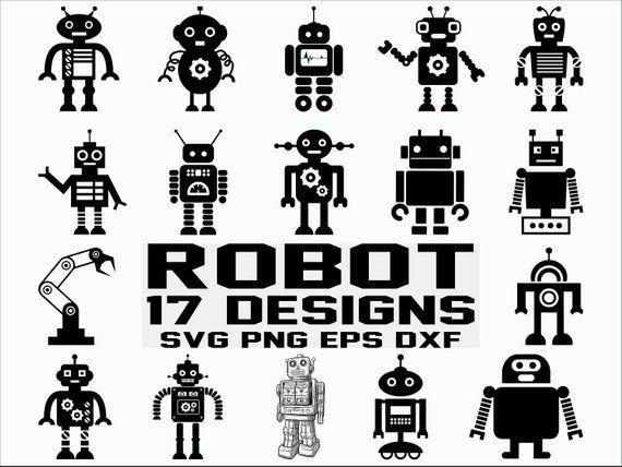 Svg cut files cricut. Robot clipart silhouette