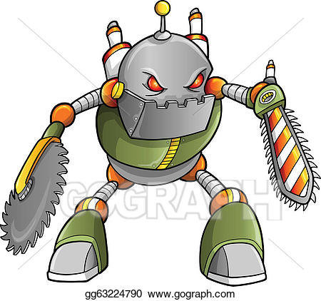 Warrior clipart robot. Vector stock massive cyborg