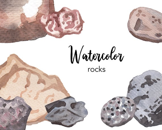 Watercolor watercolour set commercial. Rock clipart landscape