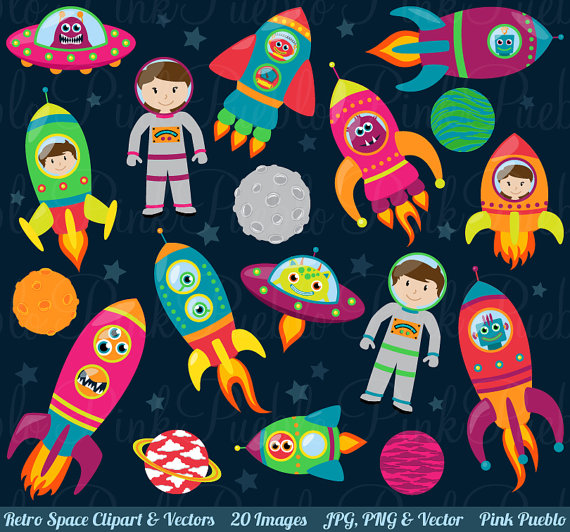 Space clip art retro. Rocketship clipart astronaut spaceship
