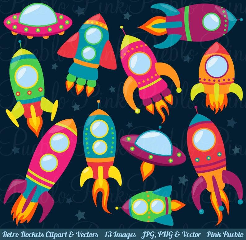 Retro rockets spaceship space. Rocketship clipart clip art