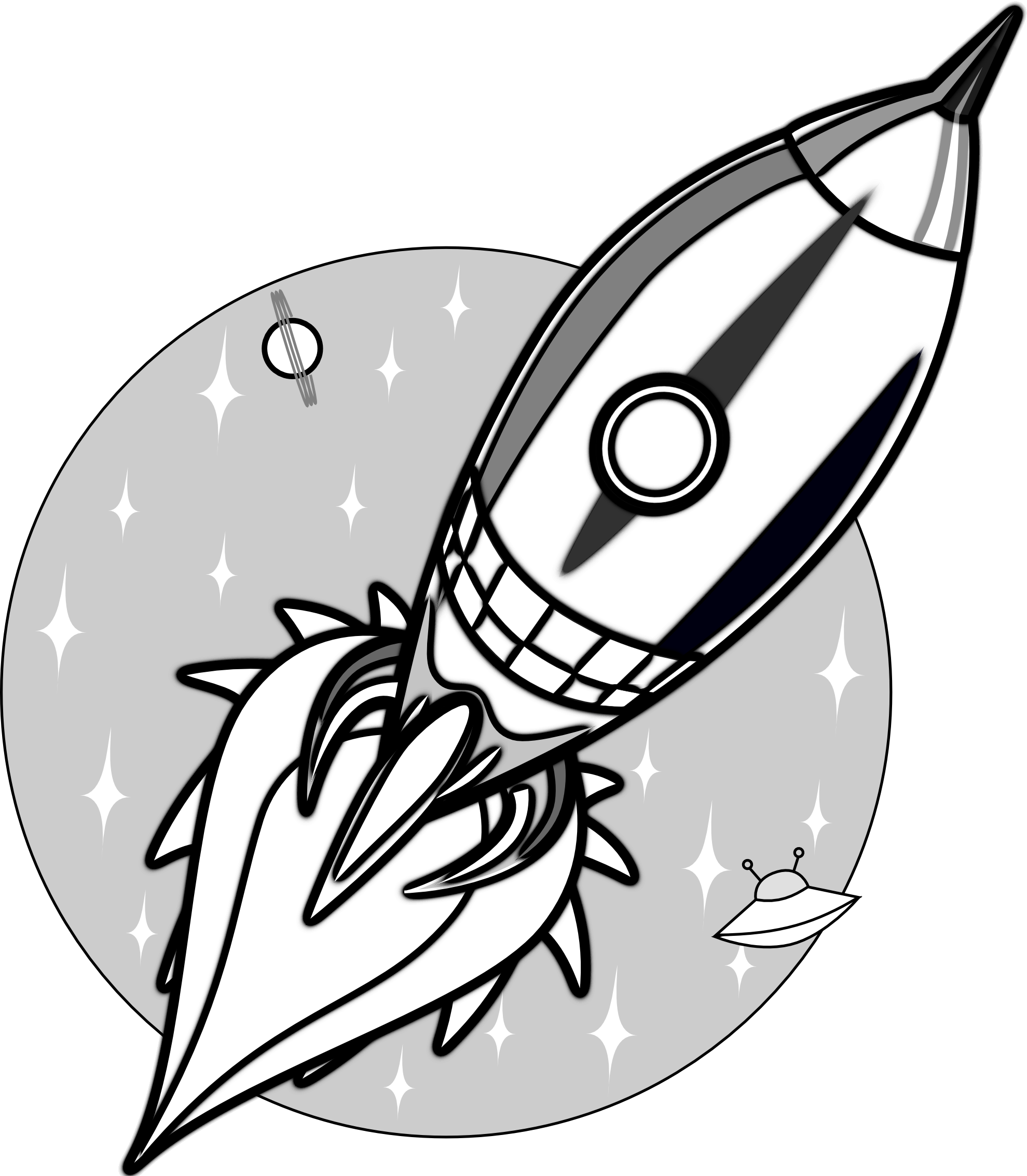 Rocketship clipart cool rocket. Ship black and white