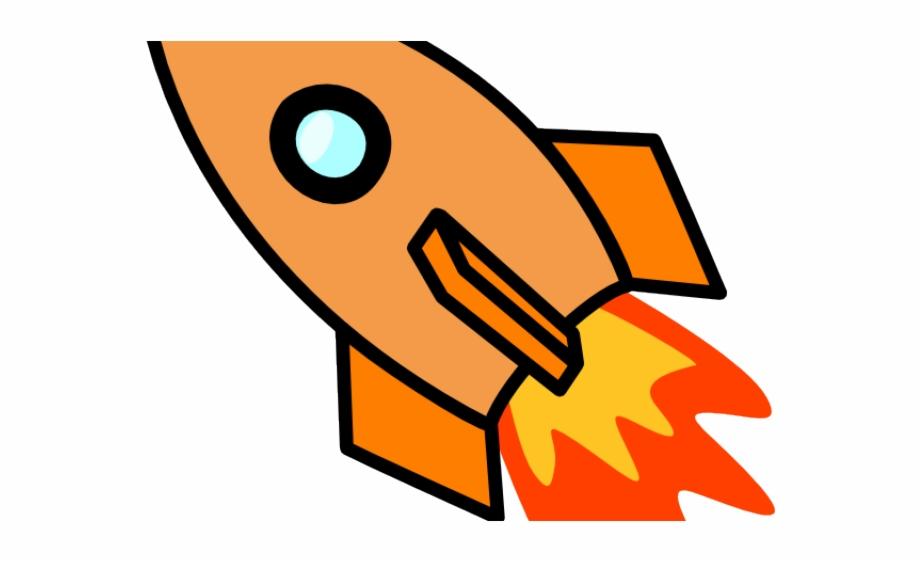 Spaceship clipart clip art. Orange rocket