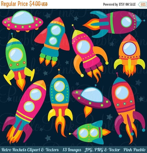 Retro rockets clip art. Spaceship clipart door