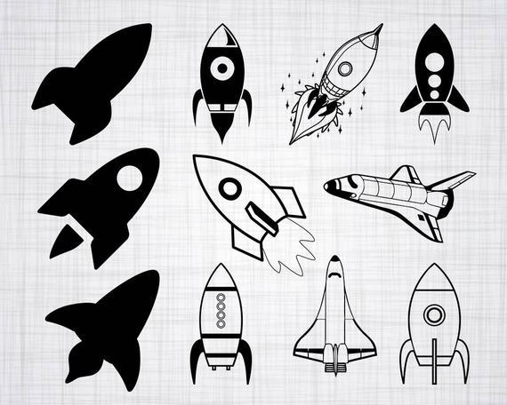 Spacecraft bundle cut files. Rocketship clipart svg