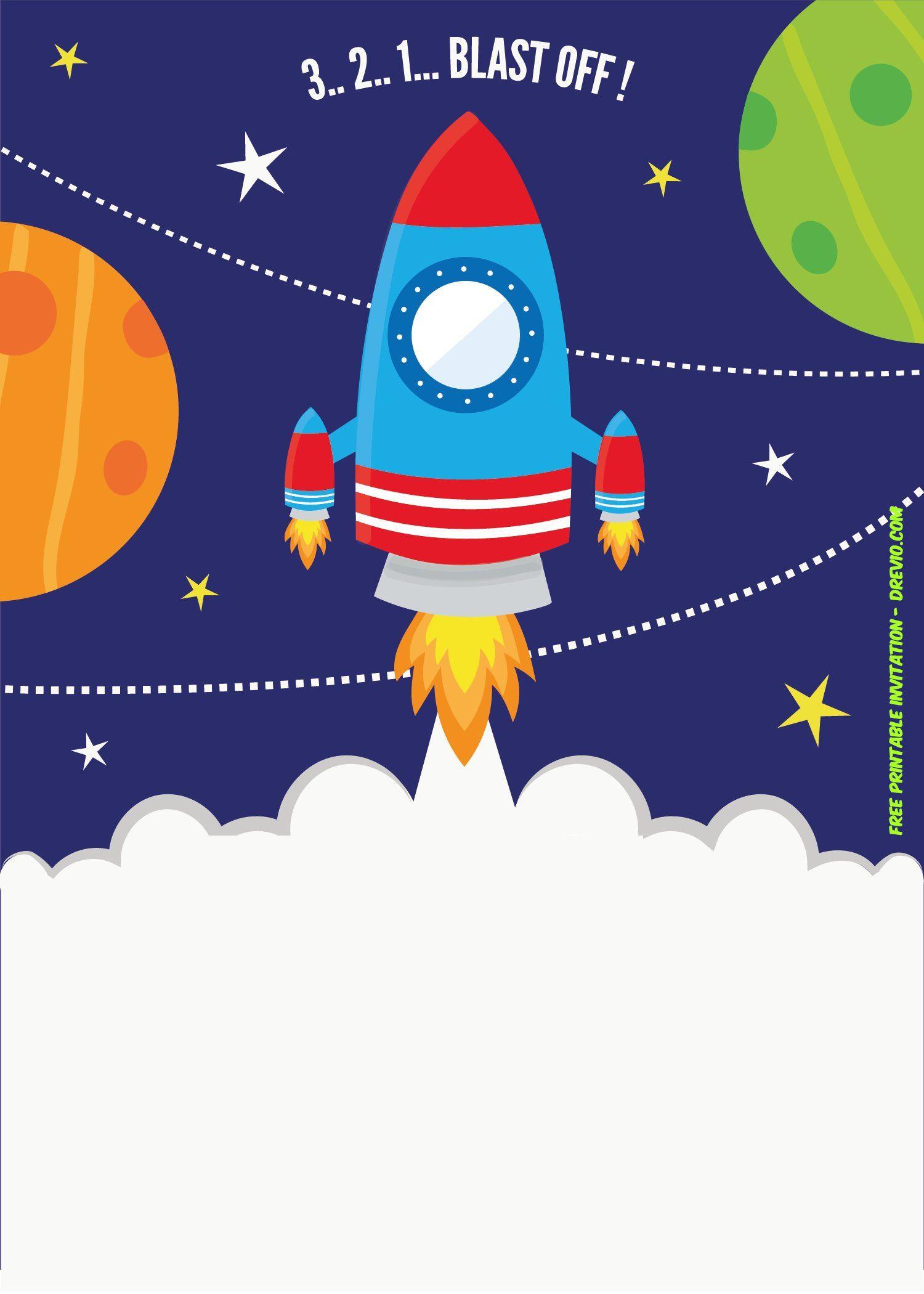 Free rocket ship invitation. Spaceship clipart printable