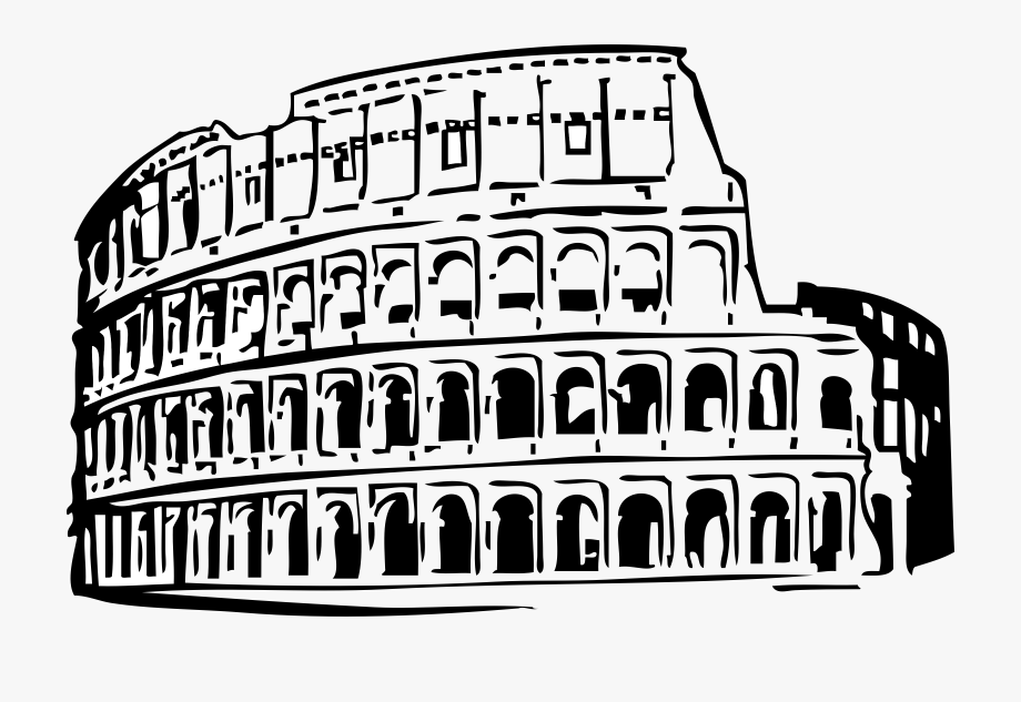Rome clipart black and white. Free buildings roman colosseum