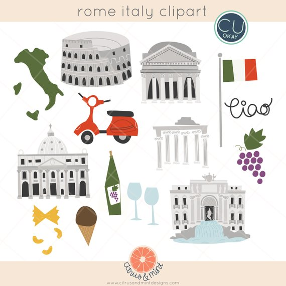 Rome clipart italy clipart. Travel clip art graphics