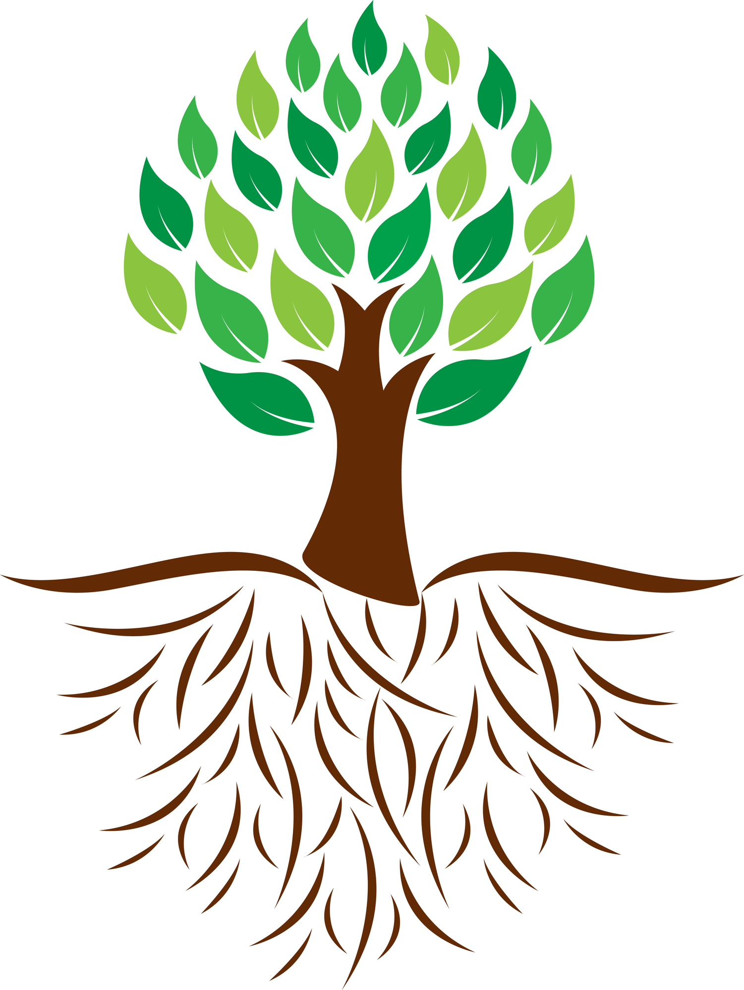 Tree with . Roots clipart